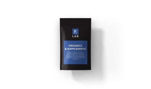 Black custom printed packaging with blue label for the organic and supplements industry, by The Packaging Lab