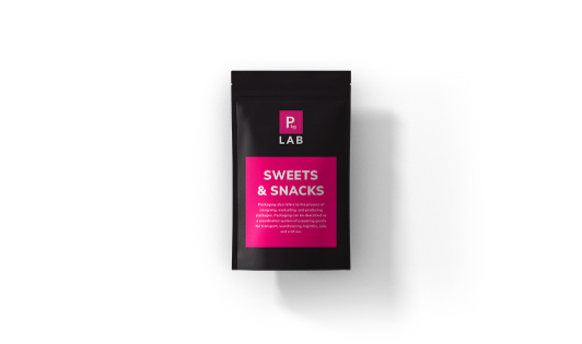 Black custom printed packaging with pink label for the sweets and snacks industry, by The Packaging Lab