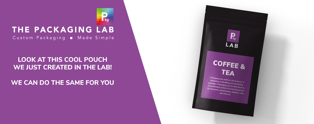 A black pouch with purple label that reads Coffee and Tea, printed by The Packaging Lab