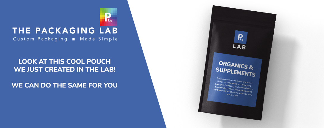 Black pouch with blue label that reads Organic and Supplements. The Packaging Lab offers custom printing services to the organic and supplement industry.