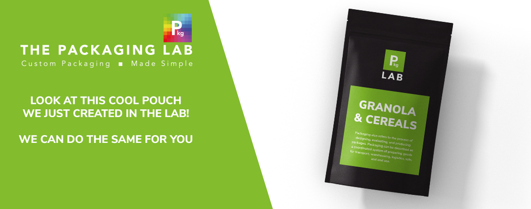 Black flexible packaging with green label that reads Granola and Cereals, representing the printing services offered by The Packaging Lab