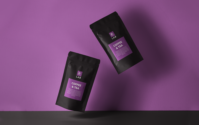 custom purple coffee and tea resealable packages on a purple background, representing packaging printing services offered by The Packaging Lab