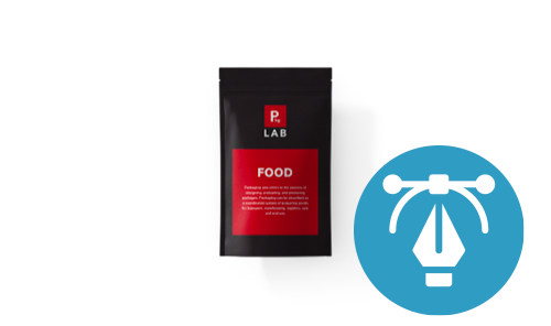 Stand-up pouch with red food label and 'Design for me' icon next to it, representing the design services offered by The Packaging Lab