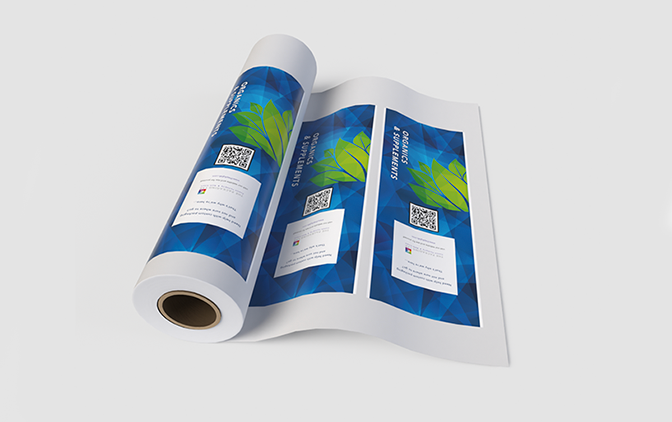 Custom-printed roll stock film, by The Packaging Lab