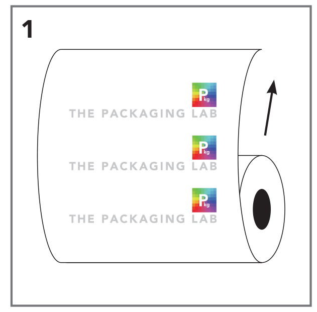 Vector of a roll stock film with The Packaging Lab logo