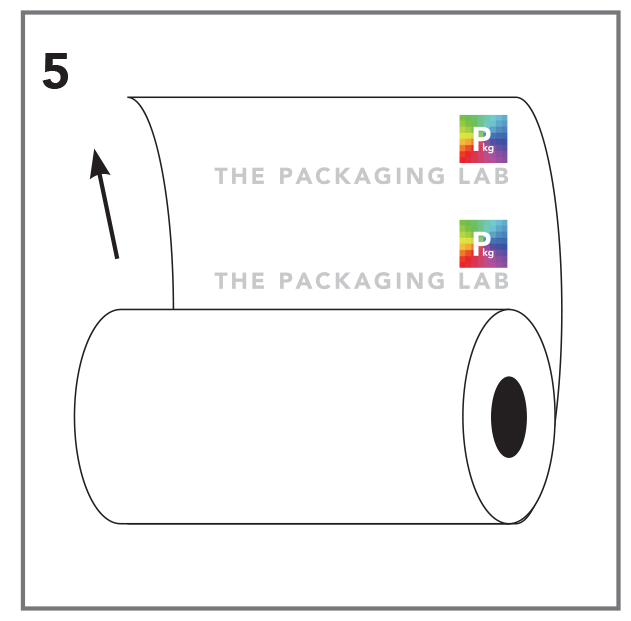 Vector of a roll stock film with The Packaging Lab logo on the inside of the roll