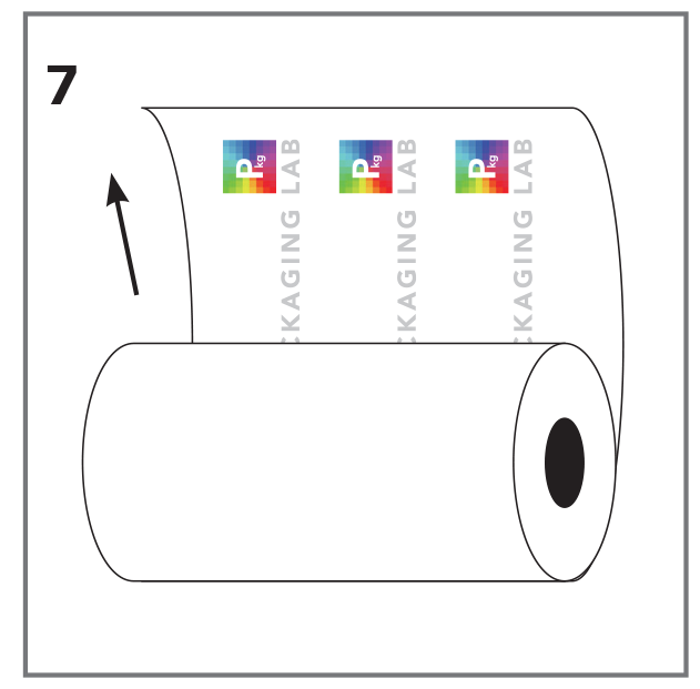Vector of a roll stock film with The Packaging Lab logo sideways on the inside of the roll
